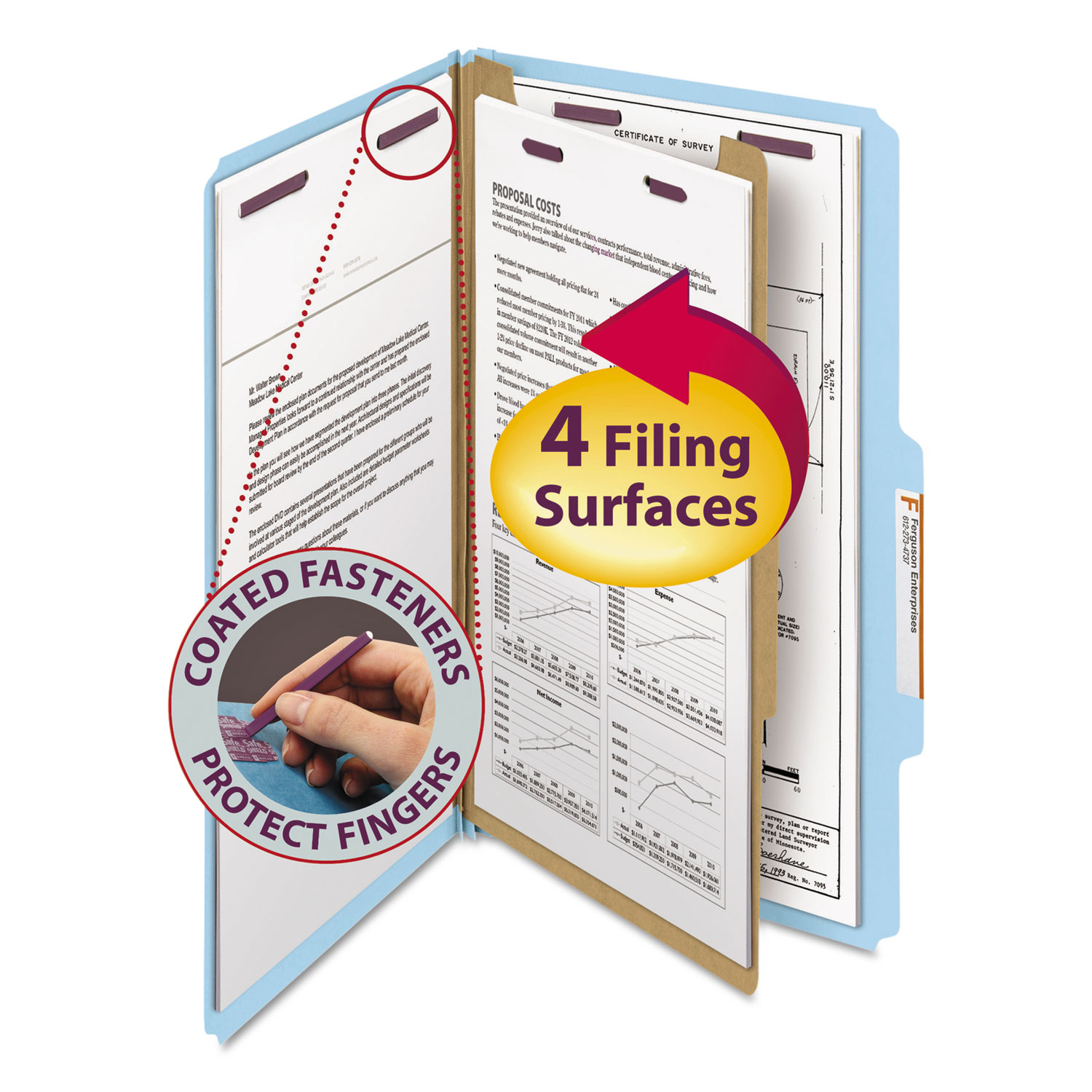 Four-Section Pressboard Top Tab Classification Folders with SafeSHIELD Fasteners, 1 Divider, Legal Size, Blue, 10/Box