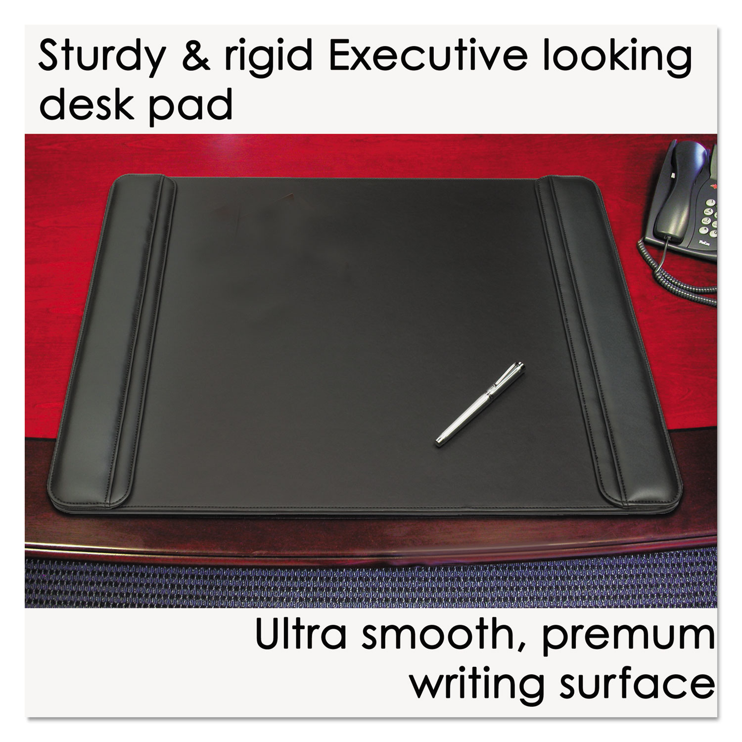 Sagamore Desk Pad W Flip Open Side Panels 36 X 20 Black