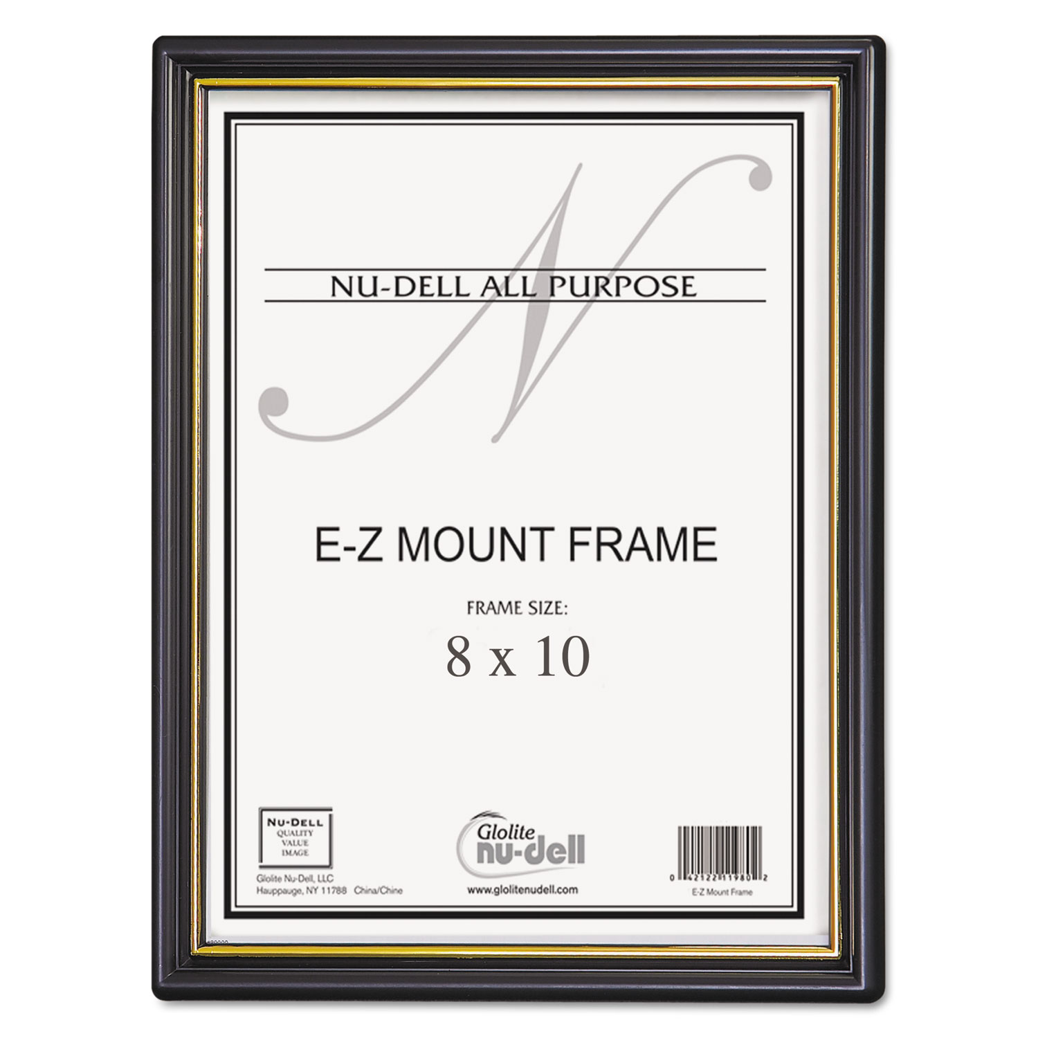 EZ Mount Document Frame/Accent, Plastic Face, 8 x 10, Black/Gold