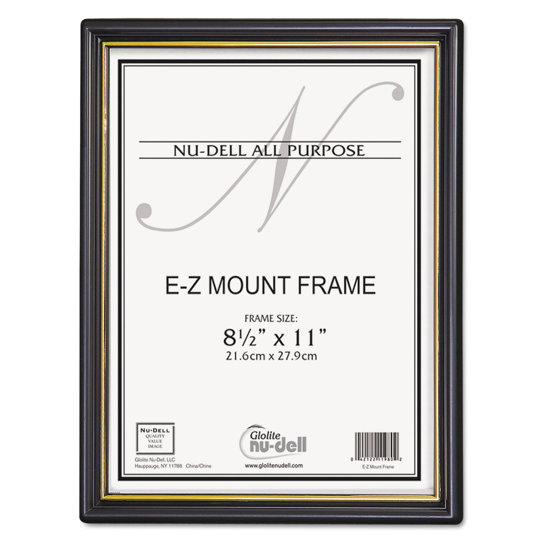 EZ Mount Document Frame w/Trim Accent, Plastic Face, 8.5 x 11, Black/Gold, 18/CT