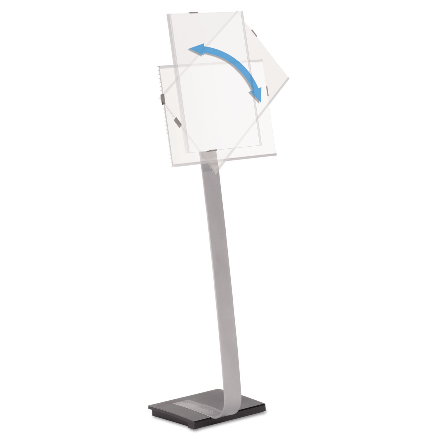 Info Sign Duo Floor Stand, Tabloid-Size Inserts, 15 x 50, Clear