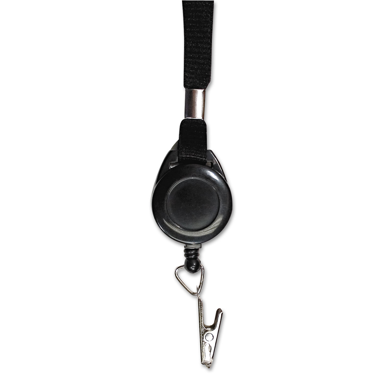 """Lanyards with Retractable ID Reels, Clip Style, 34"""" Long, Black, 12/Carton"""