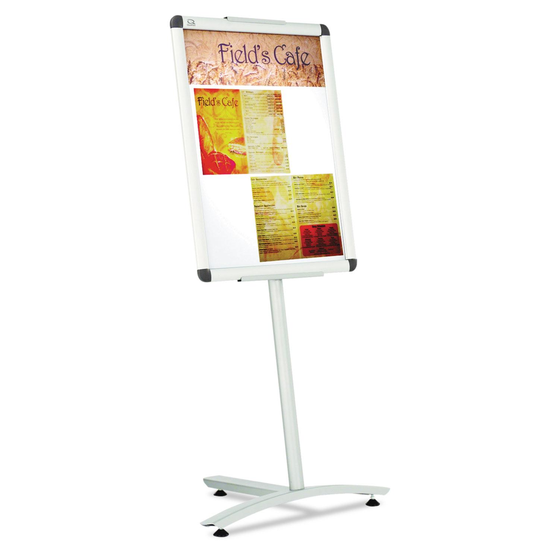 "Improv Lobby Clip-Frame Pedestal Sign, 18 x 24 Frame, 54"" High, Aluminum"