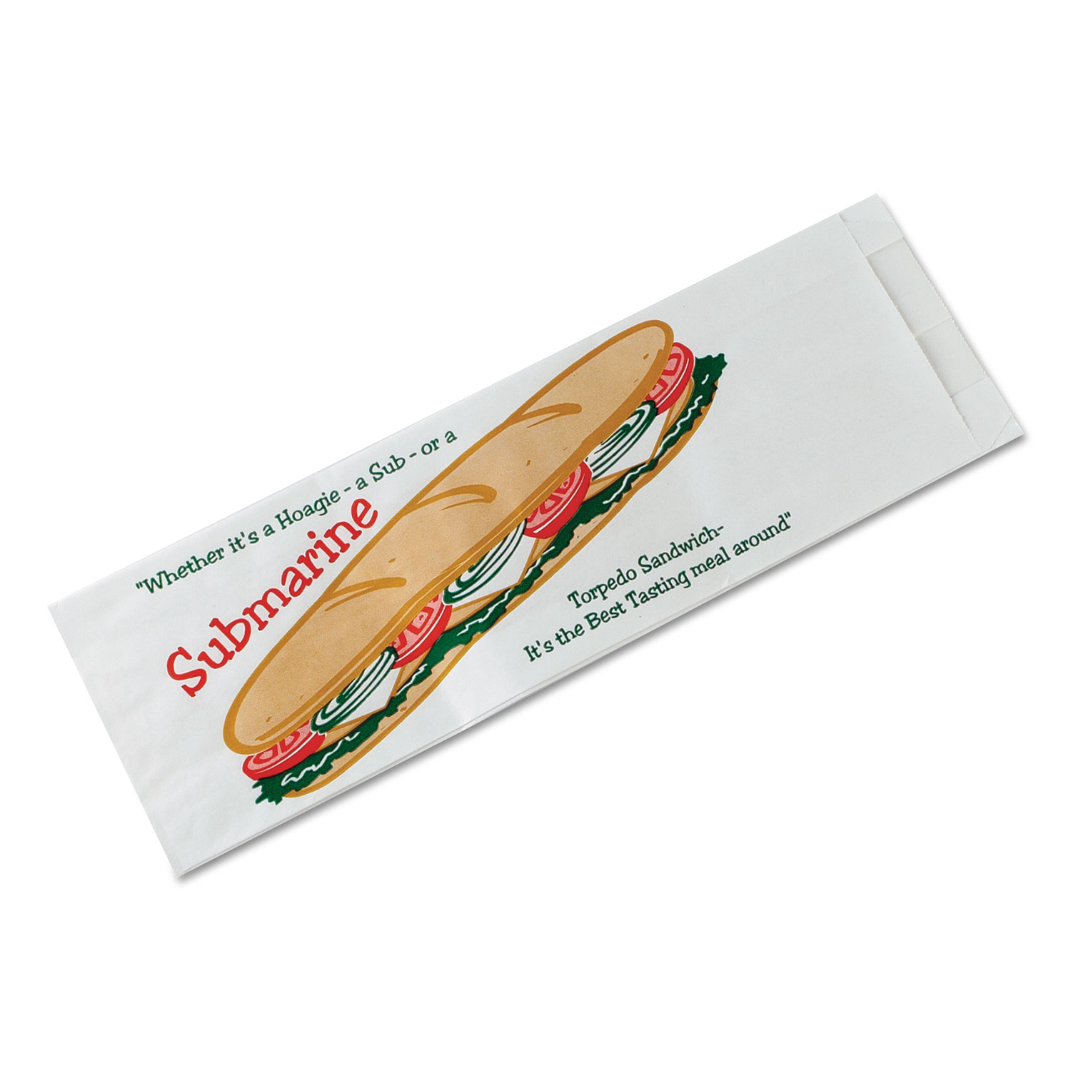 Submarine Sandwich Bags, 4 1/2 x 2 x 14, White Preprinted Submarine, 1000/Carton
