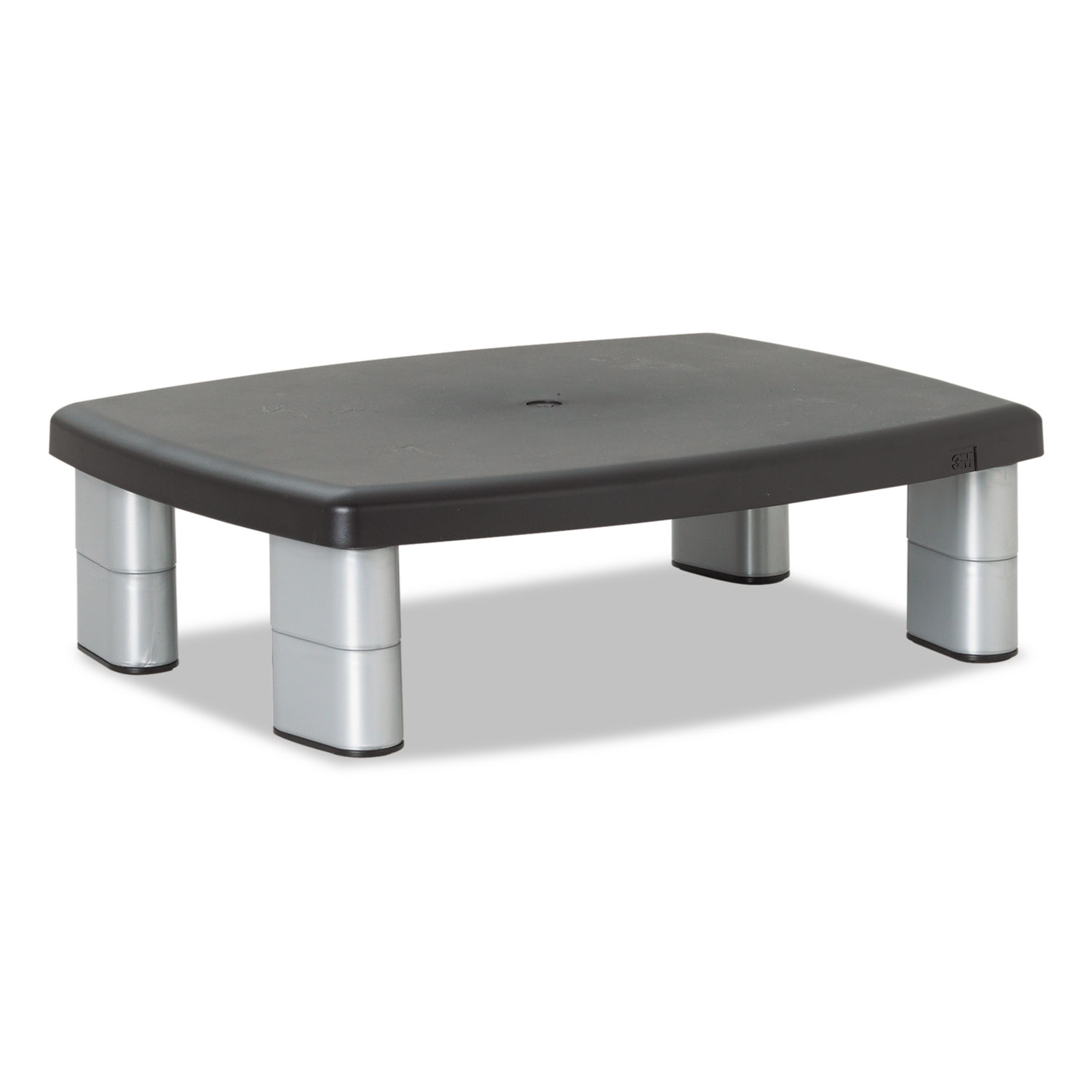 Adjustable Height Monitor Stand, 15 x 12 x 2.63 to 5.88, Black/Silver