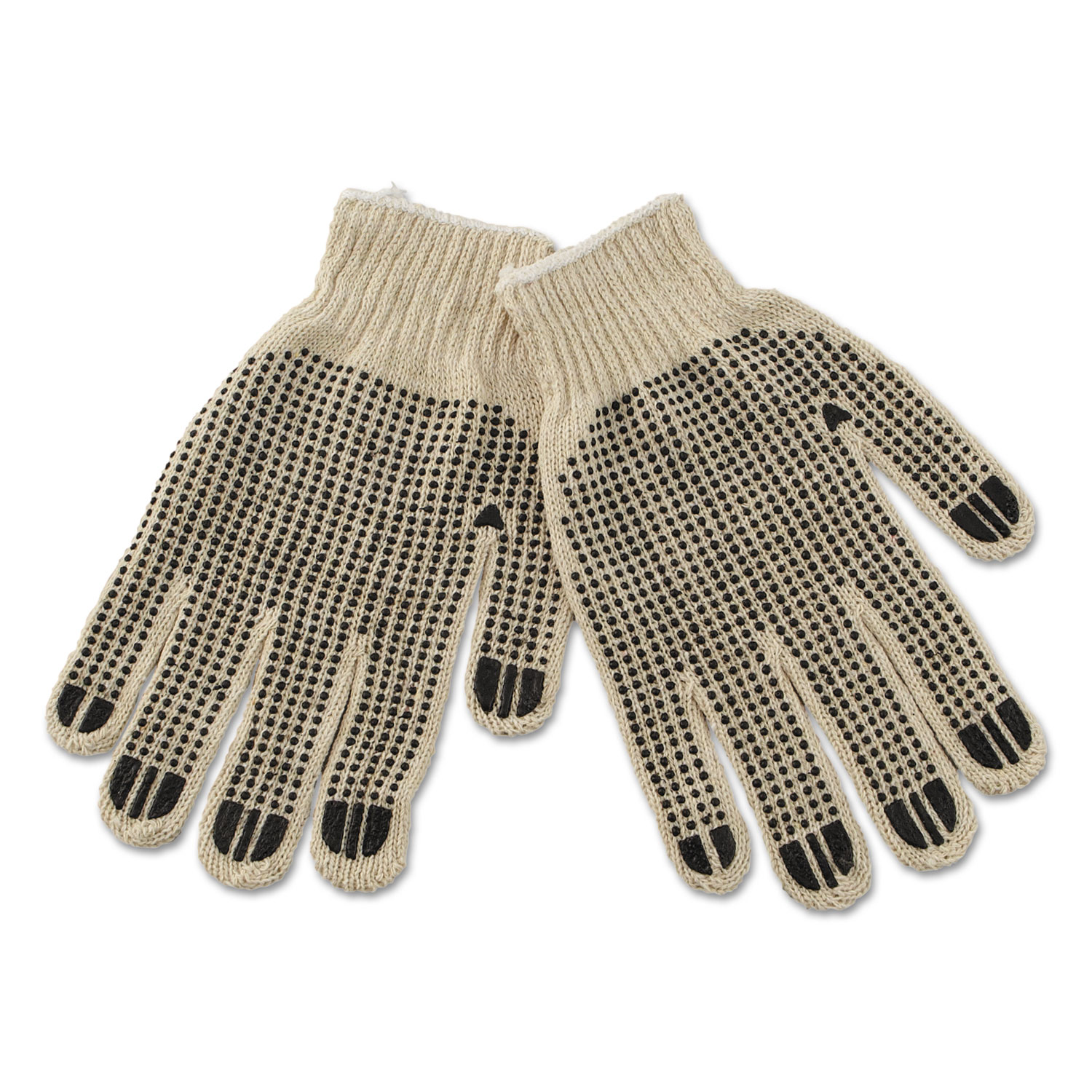 PVC-Dotted String Knit Gloves, Large, Dozen