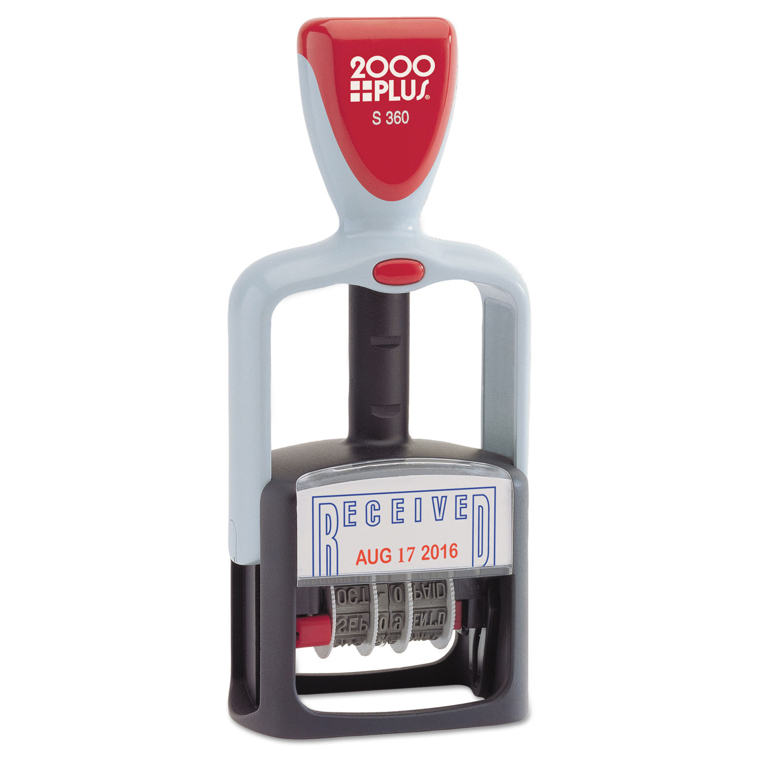 """Model S 360 Two-Color Message Dater, 1.75 x 1, """"Received"""", Self-Inking, Blue/Red"""