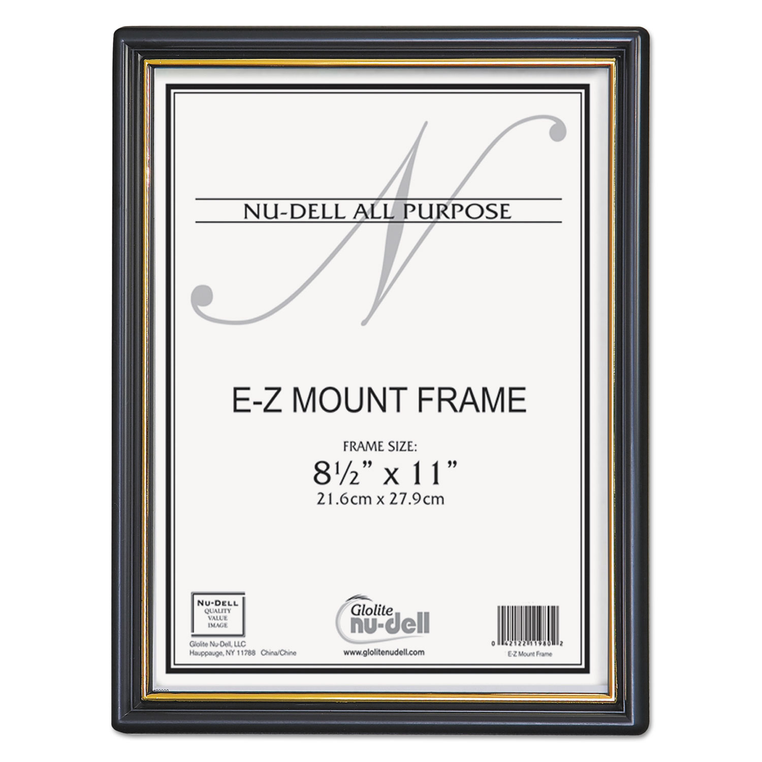 EZ Mount Document Frame with Trim Accent, Plastic Face , 8.5 x 11, Black/Gold