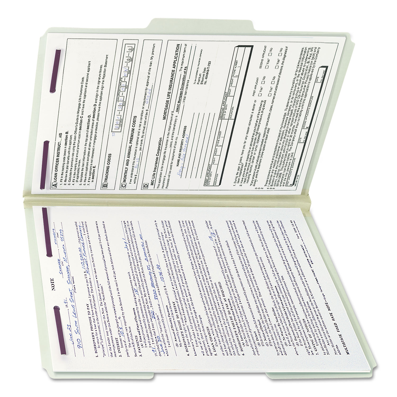 Recycled Pressboard Folders with Two SafeSHIELD Coated Fasteners, 1/3-Cut  Tabs, 1