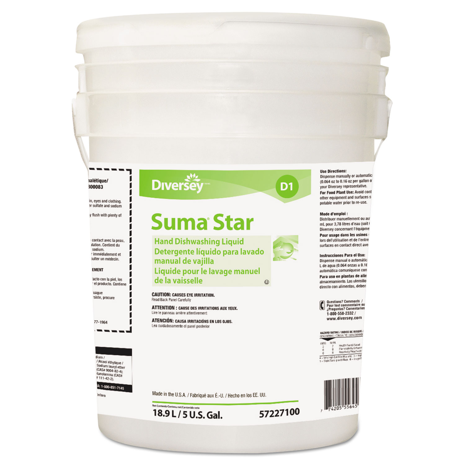 Suma Star D1 Hand Dishwashing Detergent, Unscented, 5 Gallon Pail