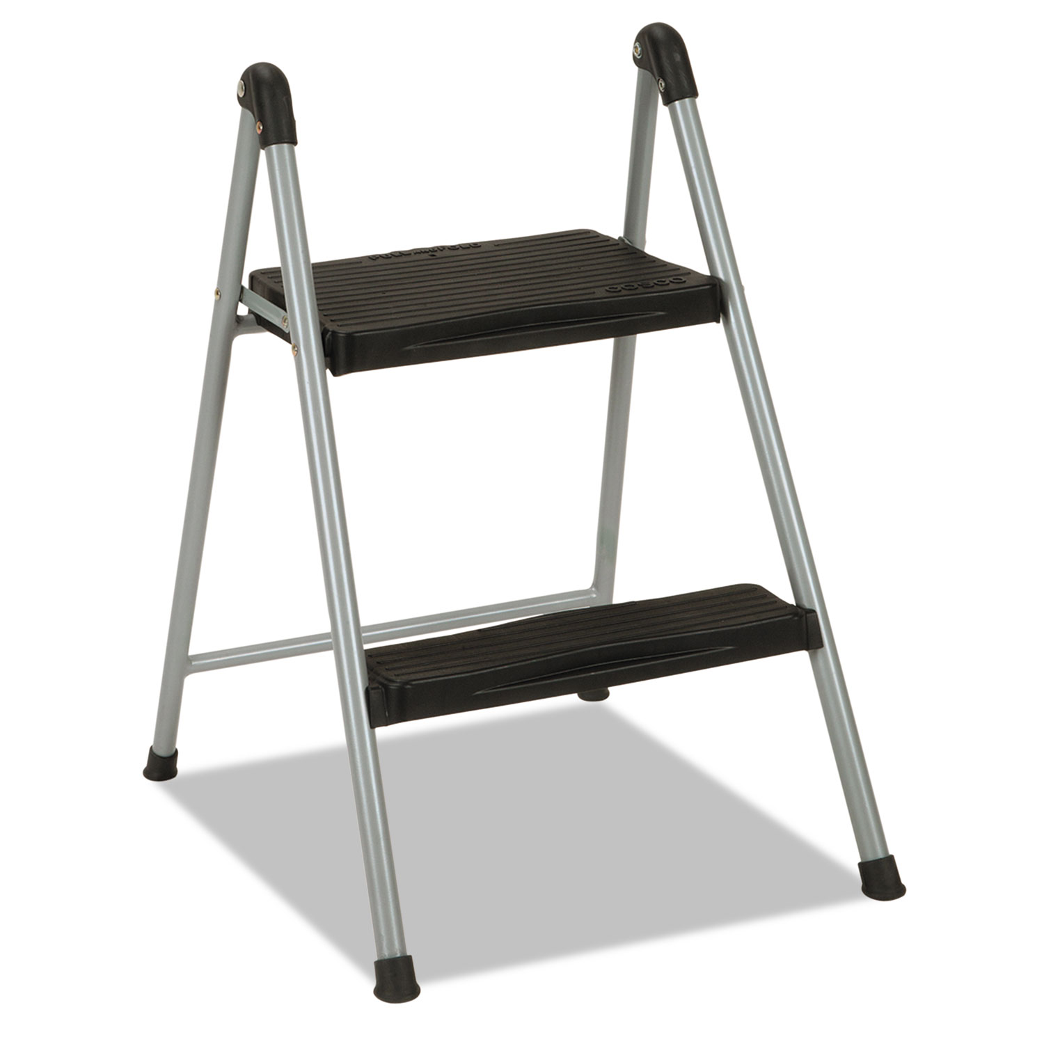 Enjoyable Folding Step Stool 2 Step 200Lb 16 9 10 Working Height Platinum Black Inzonedesignstudio Interior Chair Design Inzonedesignstudiocom