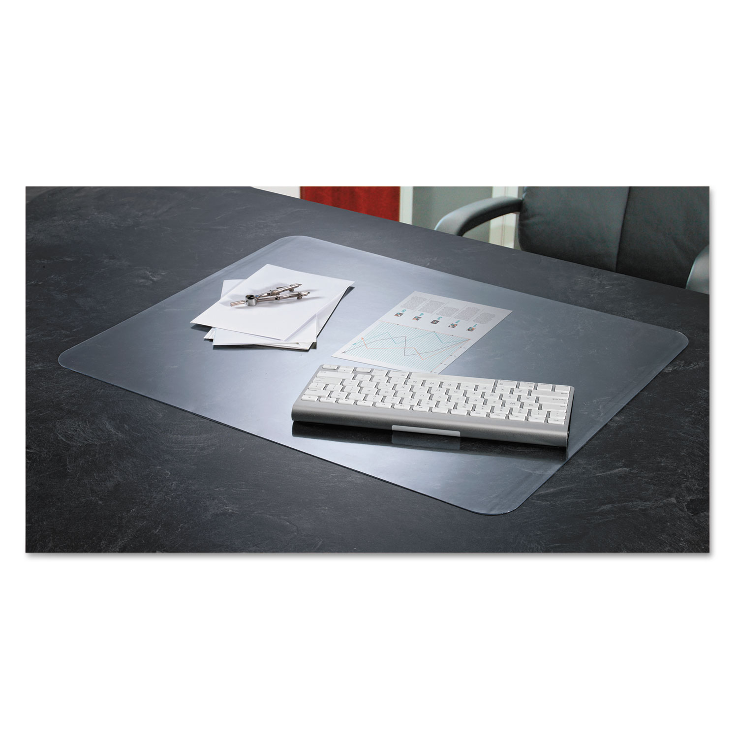 KrystalView Desk Pad with Antimicrobial Protection, 24 x 19, Clear