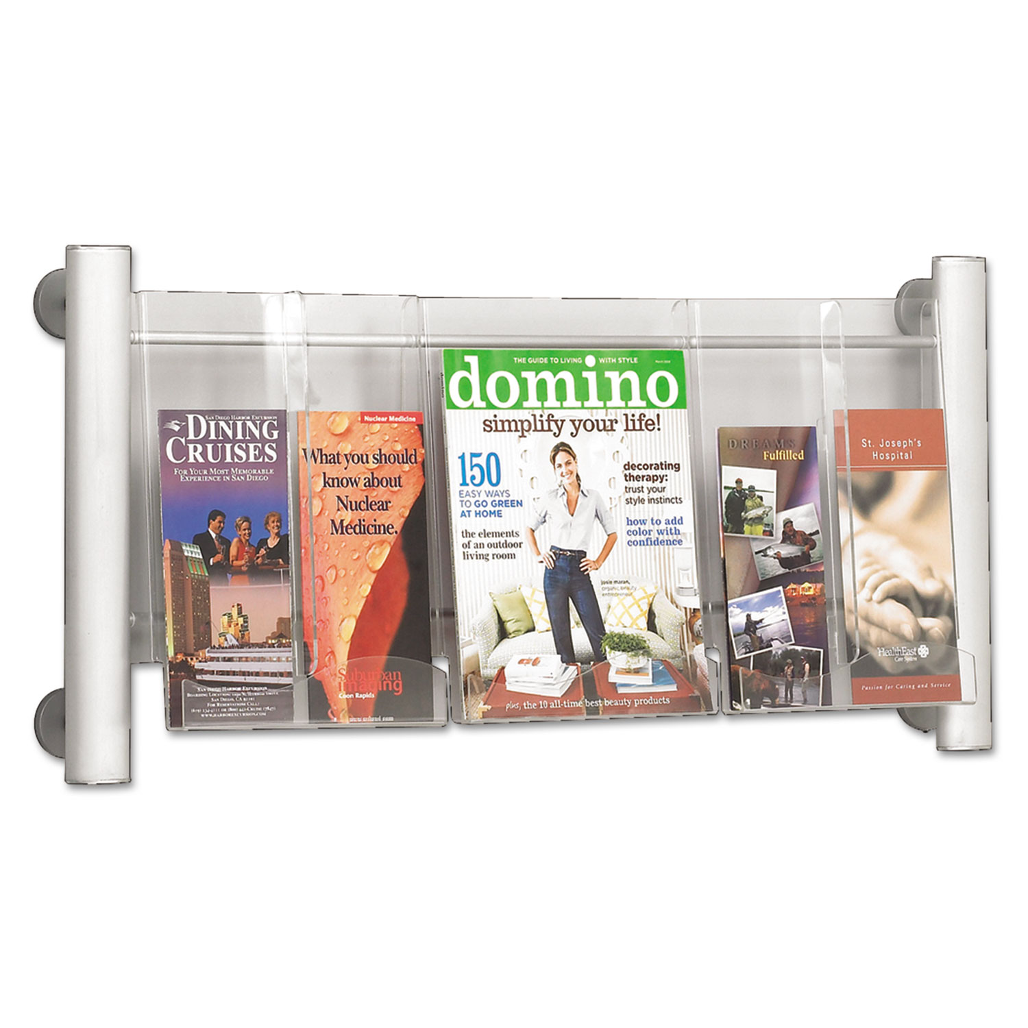 Luxe Magazine Rack, 3 Compartments, 31.75w x 5d x 15.25h, Clear/Silver