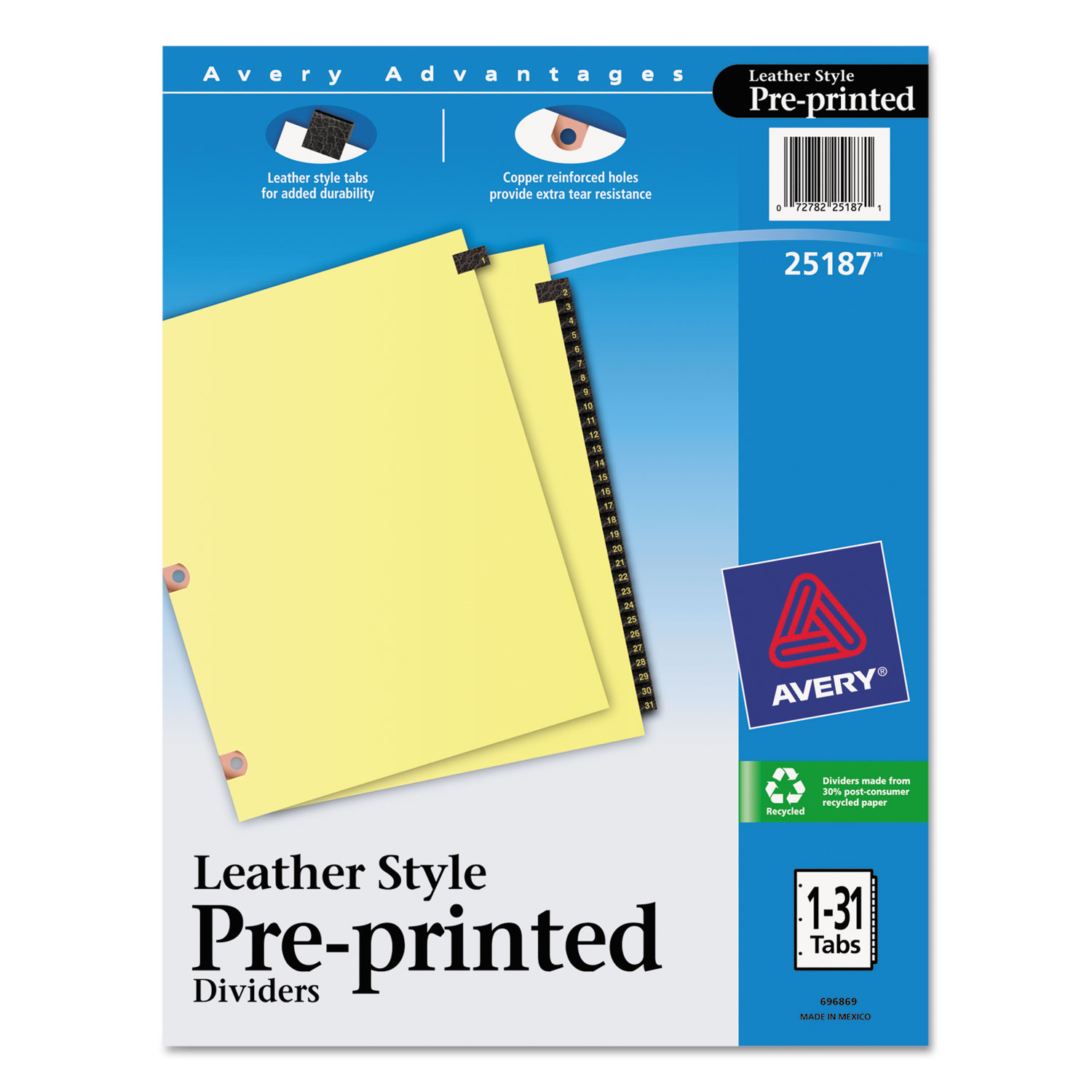 Preprinted Black Leather Tab Dividers w/Copper Reinforced Holes, 31-Tab, Letter
