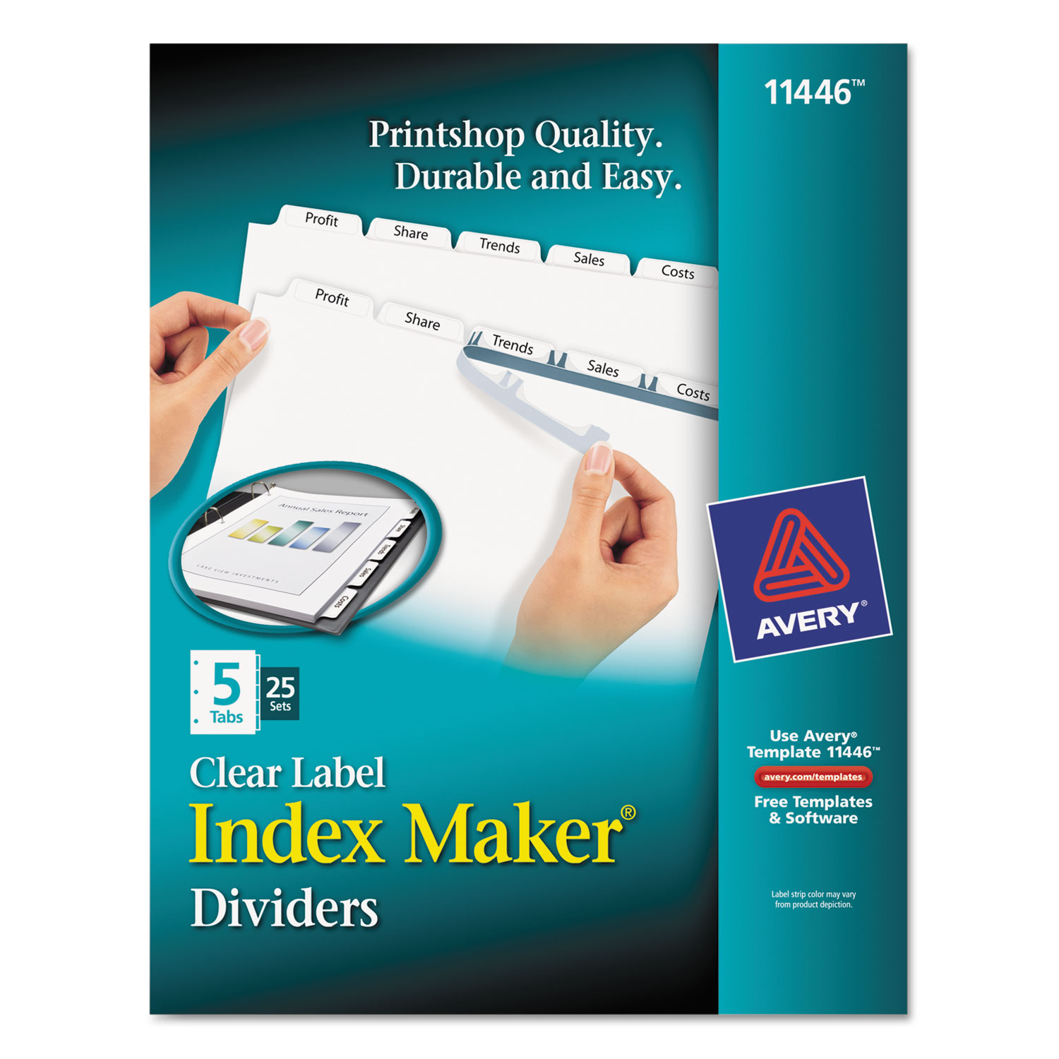 print apply clear label dividers w white tabs by avery ave11446