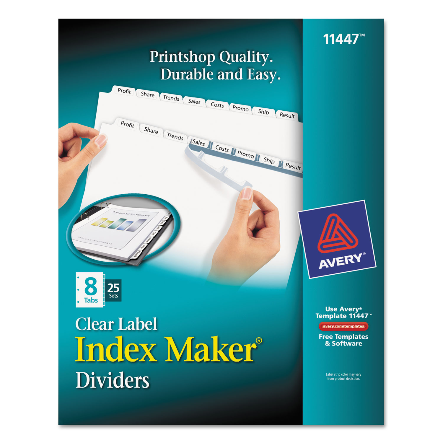 print apply clear label dividers w white tabs by avery With ave11447