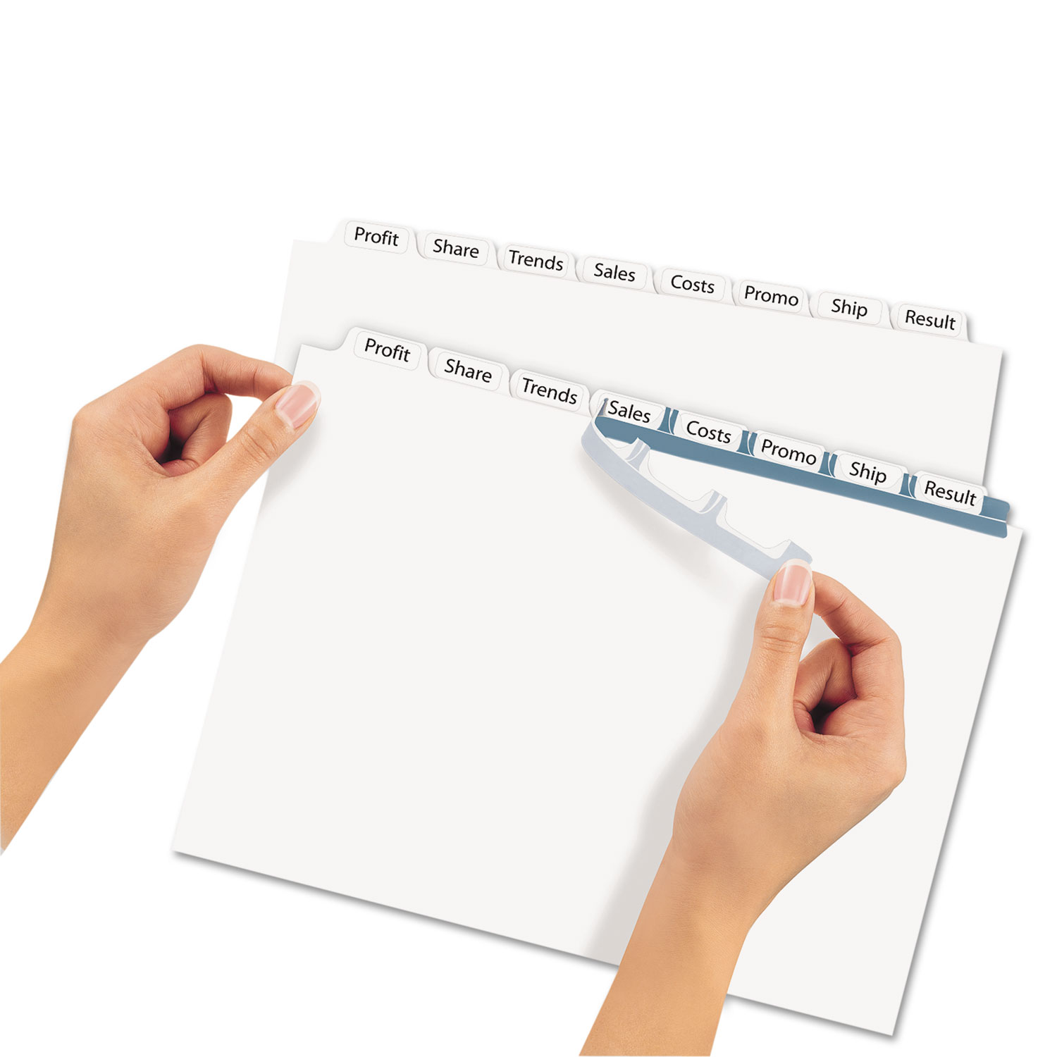 print & apply clear label dividers w/white tabs by avery® ave11447