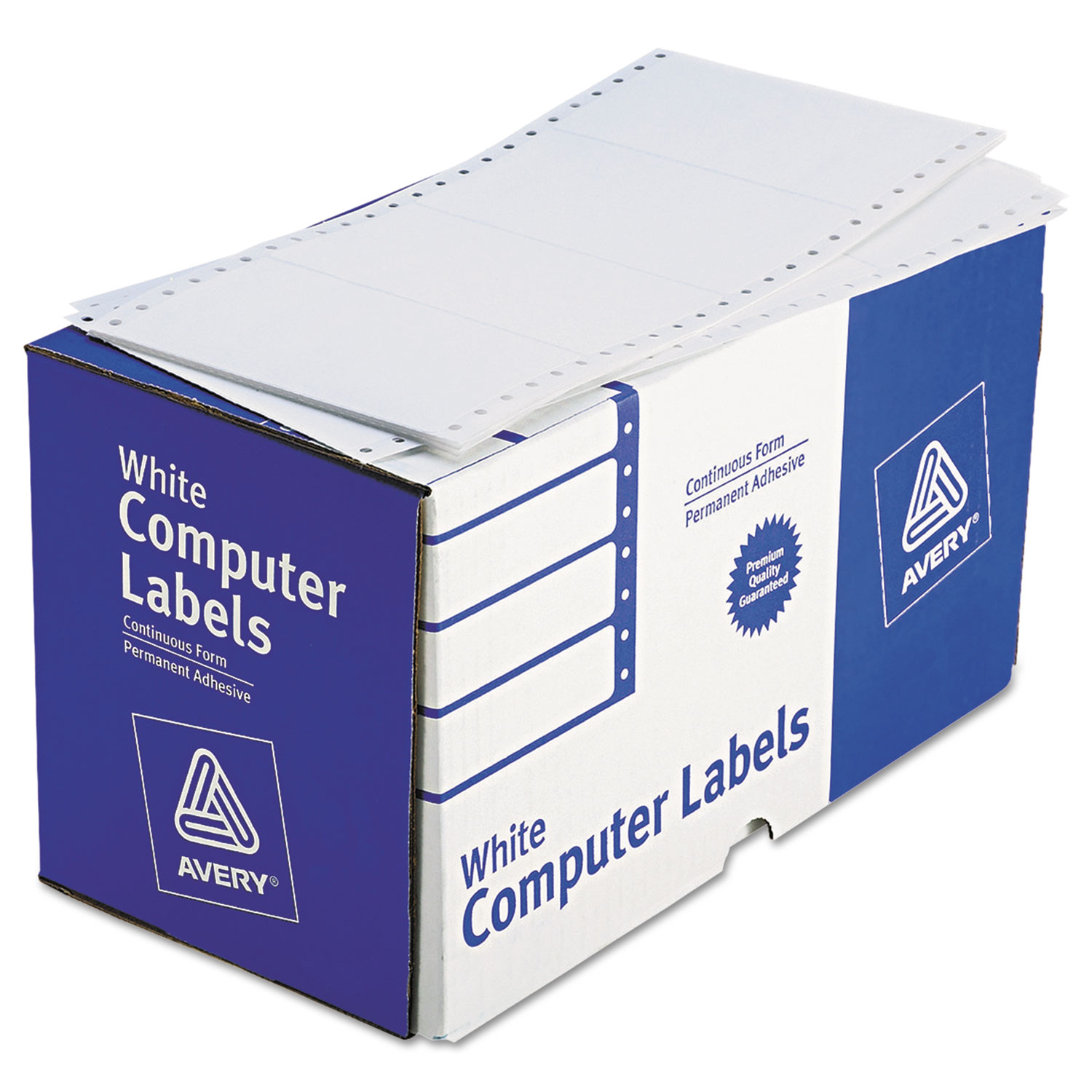 Dot Matrix Printer Mailing Labels, Pin-Fed Printers, 2.94 x 5, White, 3,000/Box