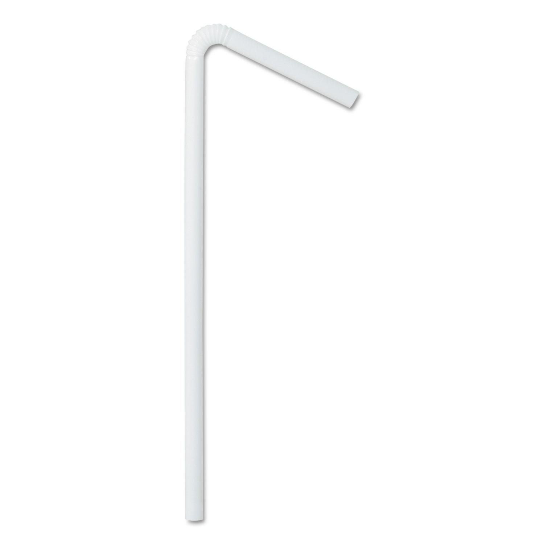 Wrapped Flex Straws, 7 3/4″, Polypropylene, White, 10,000 Straws/Carton