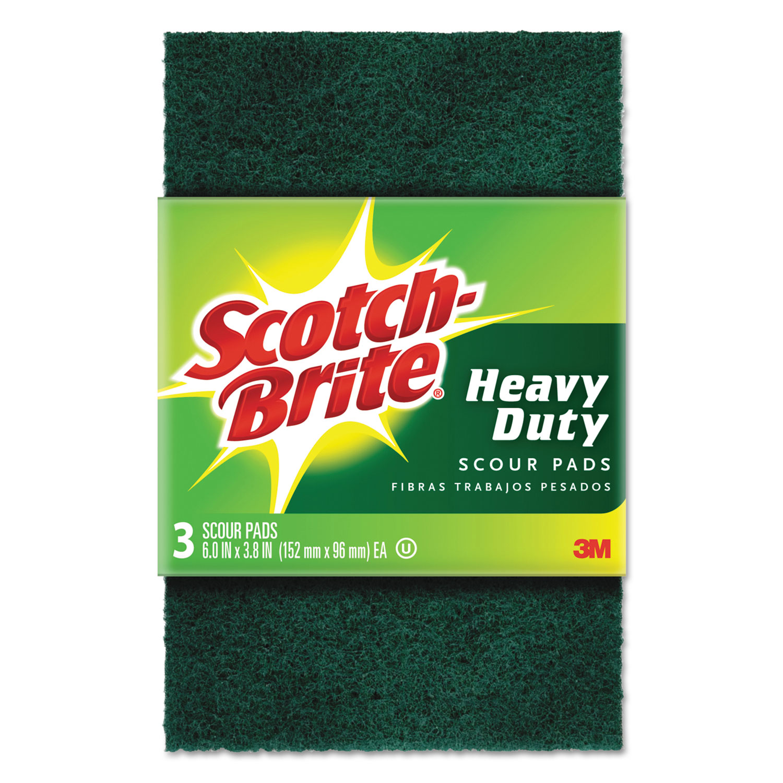 "Heavy-Duty Scour Pad, 3 4/5"" x 6"", Green, 3/Pack"