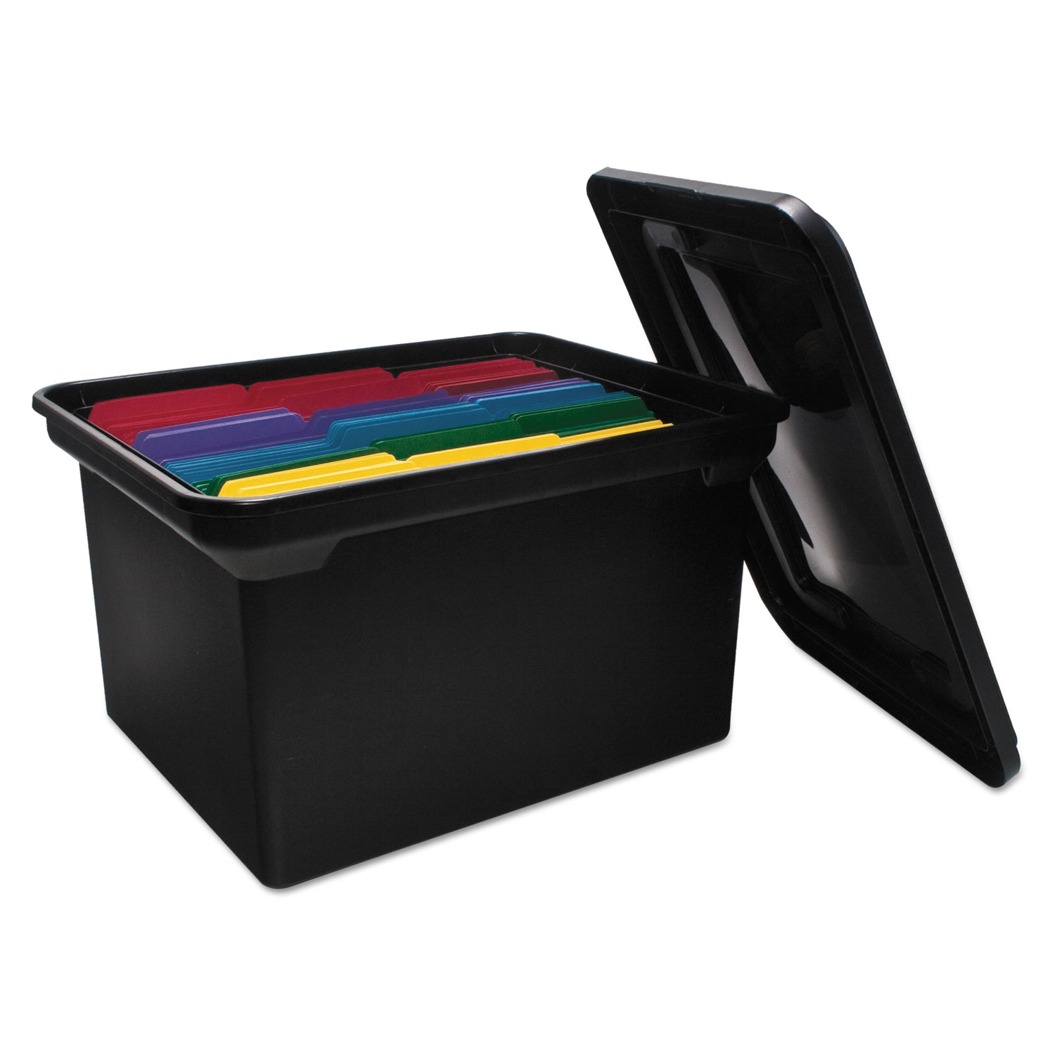 """File Tote with Lid, Letter/Legal Files, 14.13"""" x 18"""" x 10.75"""", Black"""