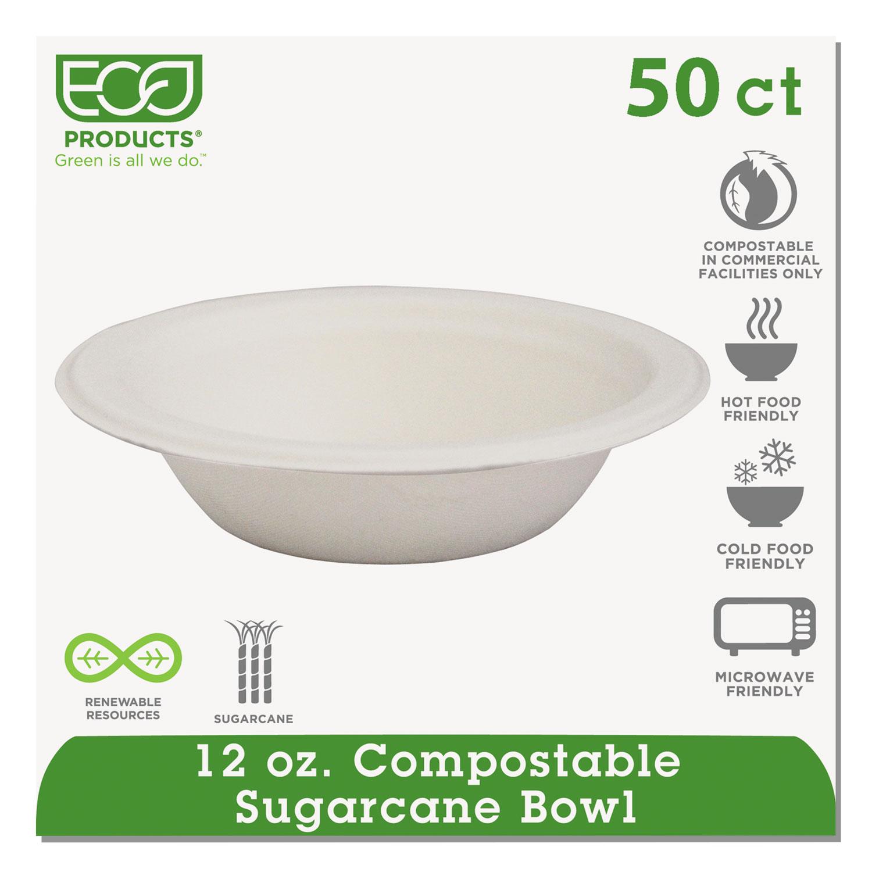 Renewable & Compostable Sugarcane Bowls - 12oz., 50/PK ECOEPBL12PK
