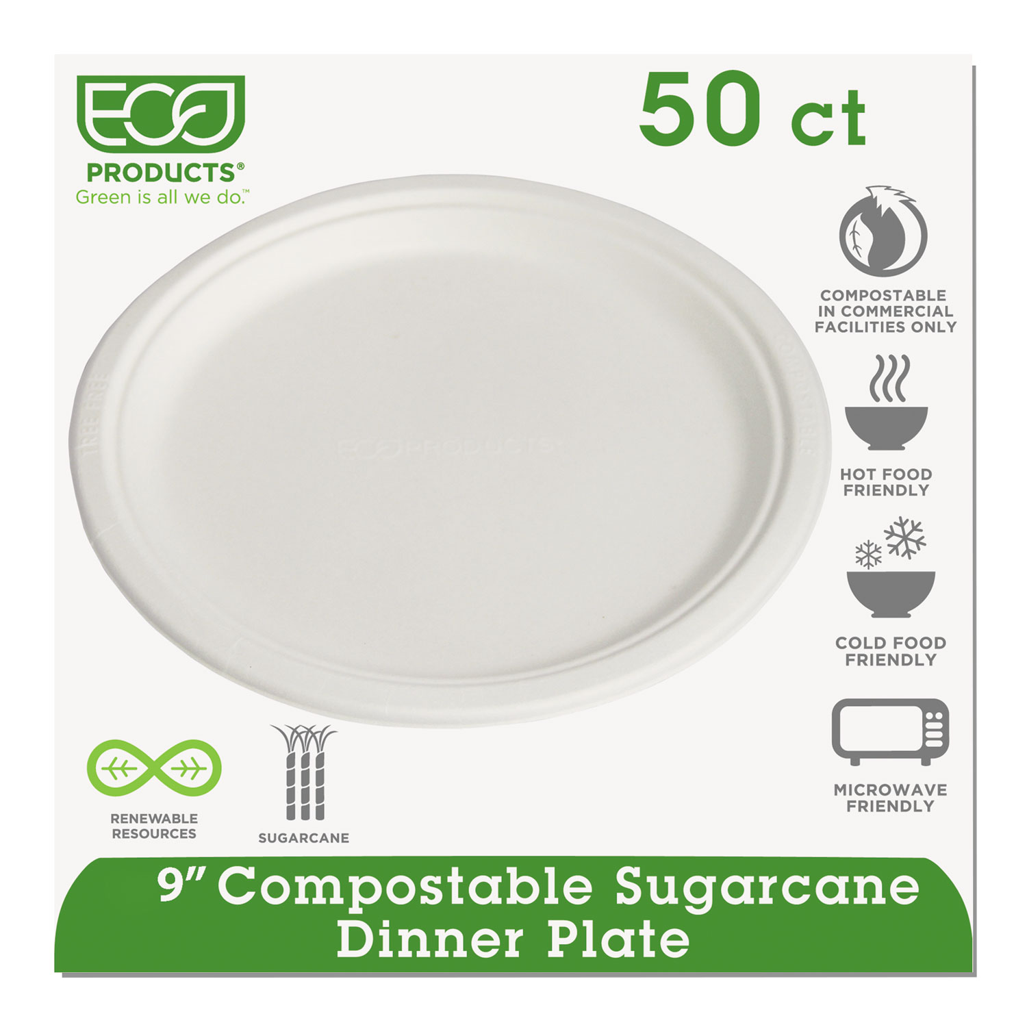 "Renewable/Compostable Sugarcane Plates Convenience Pack, 9"", 50/PK, 10 PK/CT ECOEPP013PKCT"
