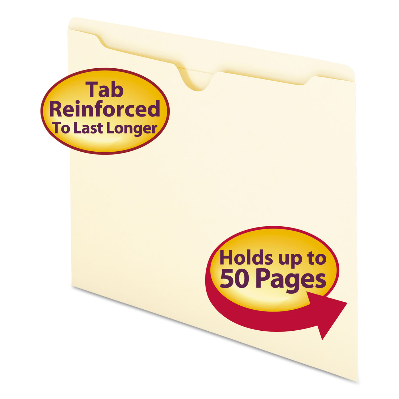 Manila File Jackets, 2-Ply Straight Tab, Letter Size, Manila, 100/Box