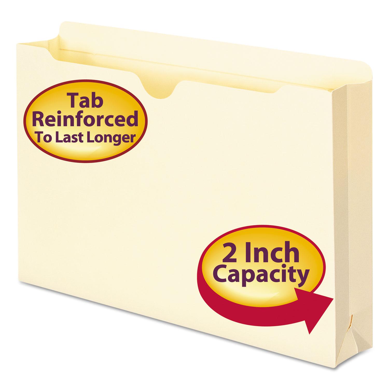 Manila File Jackets, 2-Ply Straight Tab, Legal Size, Manila, 50/Box