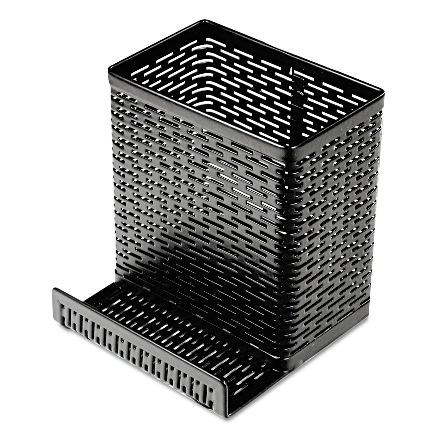 Urban Collection Punched Metal Pencil Cup/Cell Phone Stand, 3 1/2 x 3 1/2, Black