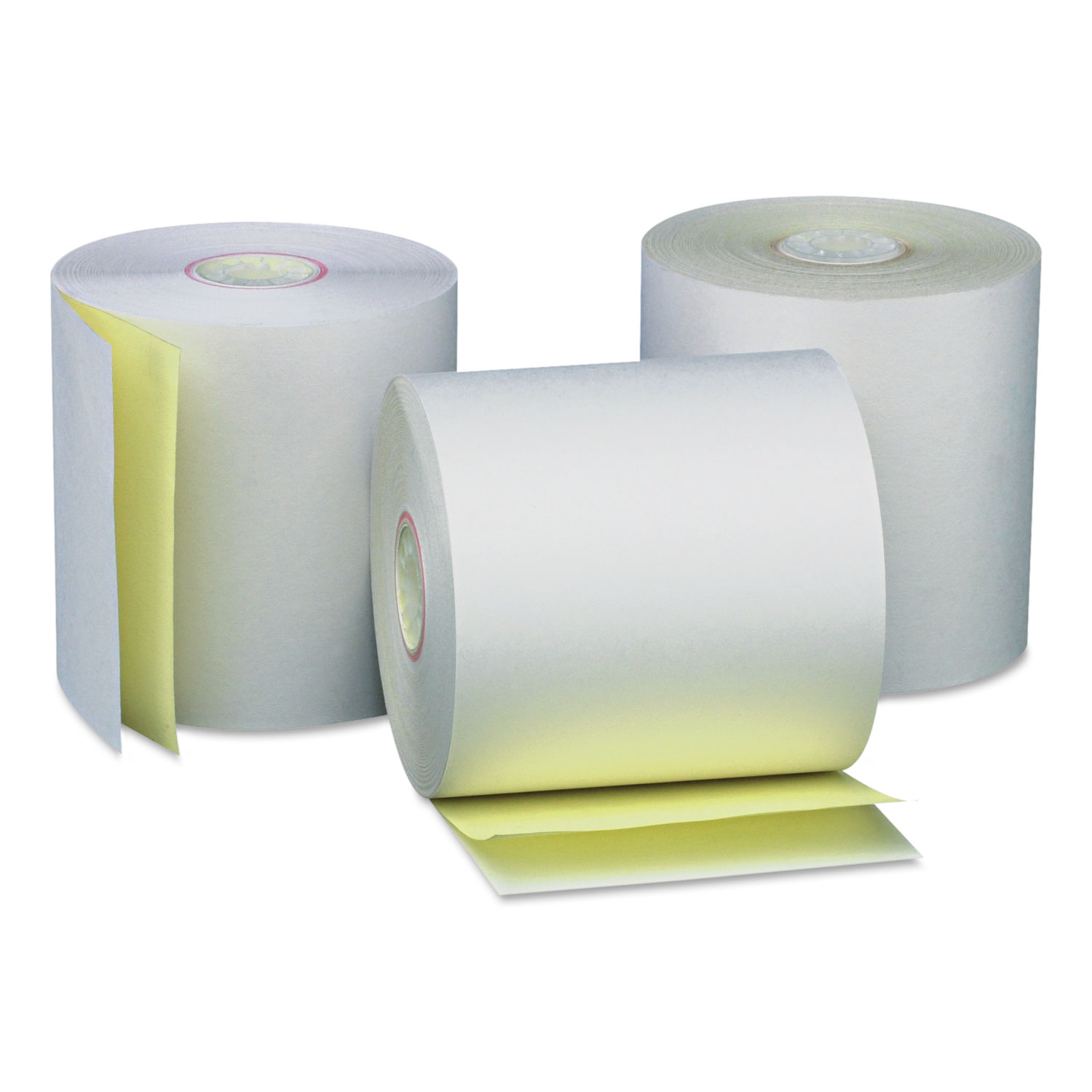 Carbonless Paper Rolls, White/Canary, 3 x 90 ft, 50/Carton