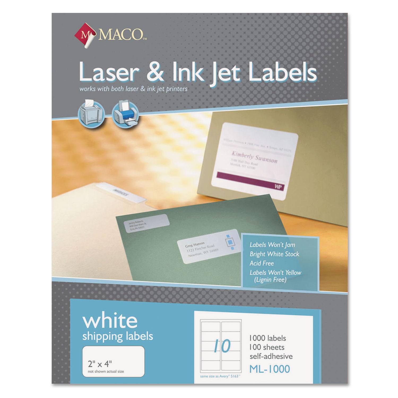 White Laser/Inkjet Shipping and Address Labels, Inkjet/Laser Printers, 2 x 4, White, 10/Sheet, 100 Sheets/Box