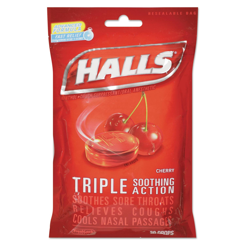 Triple Action Cough Drops, Cherry, 30/Bag, 12 Bags/Box