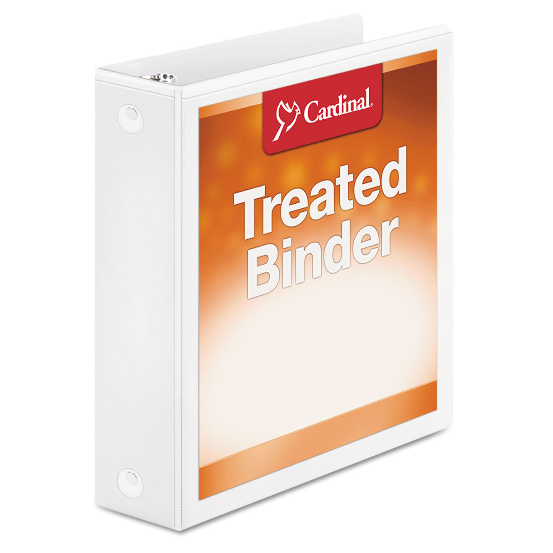 "Treated Binder ClearVue Locking Round Ring Binder, 3 Rings, 2"" Capacity, 11 x 8.5, White"