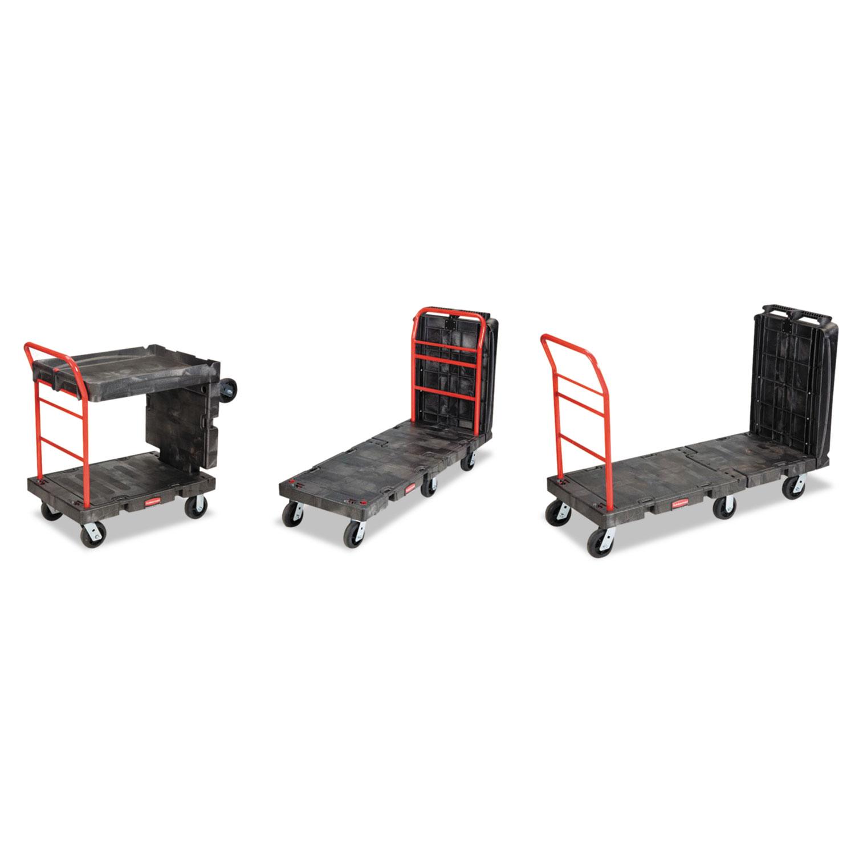 Convertible Platform Truck, 1000-lb Cap, 24 1/4 w x 61 1/2 d x 42 1/8 h, Black