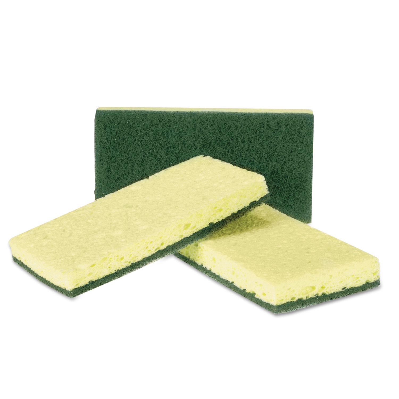 Heavy-Duty Scrubbing Sponge, Yellow/Green, 20/Carton