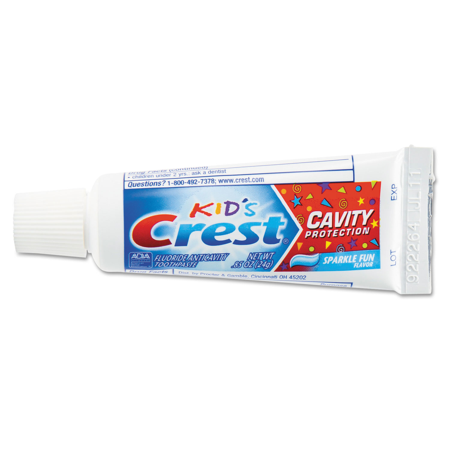 Crest® Kids Sparkle Toothpaste, Blue, Bubblegum Flavor, 0.85 oz, 72/CT