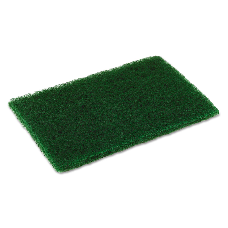 Medium Duty Scouring Pad, 6 x 9, Green, 10 per Pack, 6 Packs/Carton