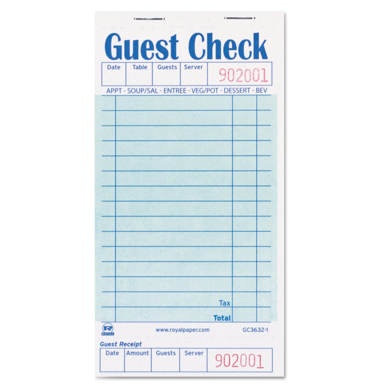 Guest Check Book, 3 1/2 x 6 7/10, 50/Book, 50 Books/Carton
