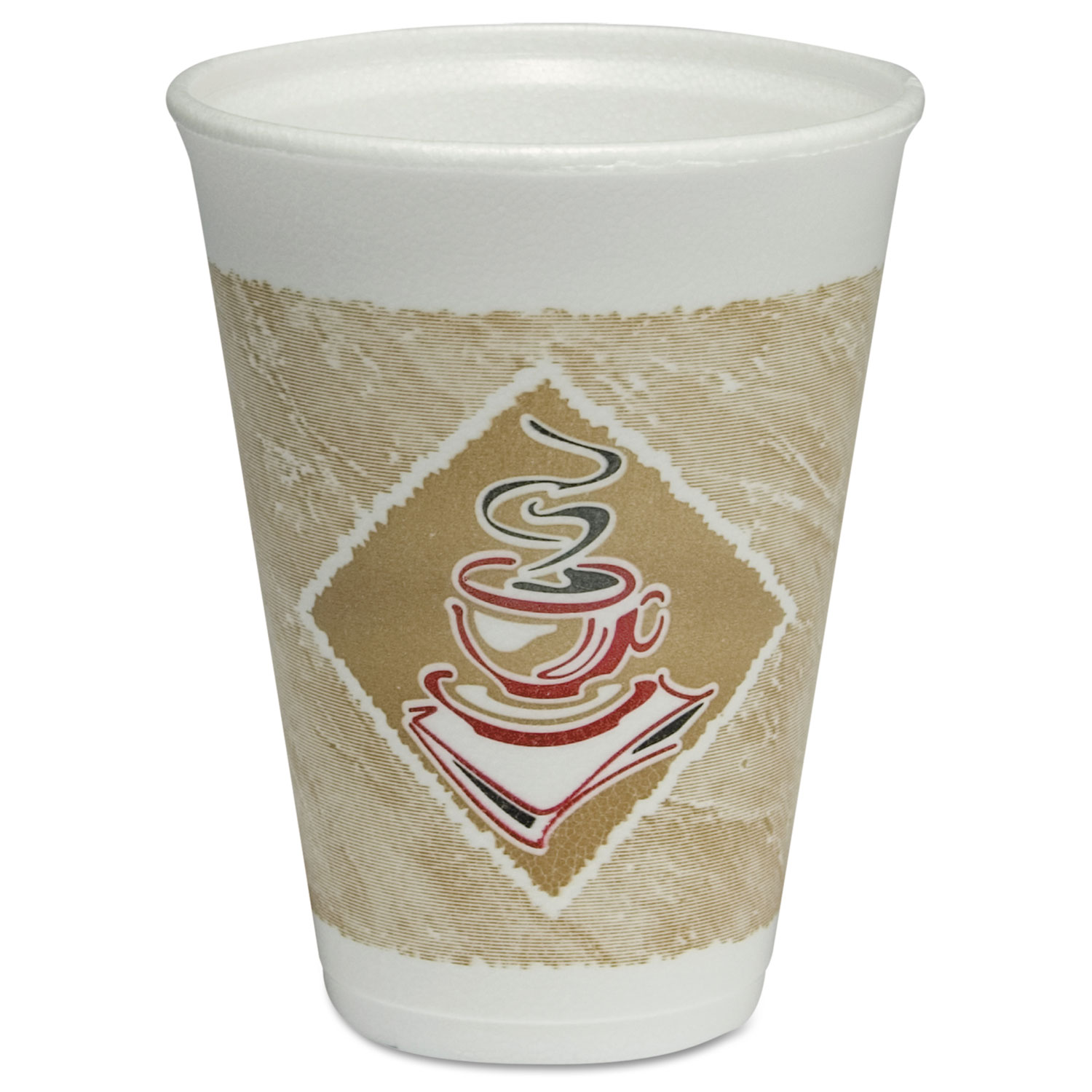 Café G Hot/Cold Cups, Foam, 12oz, White w/Brown & Red, 20/Bag, 50 Bags/Carton