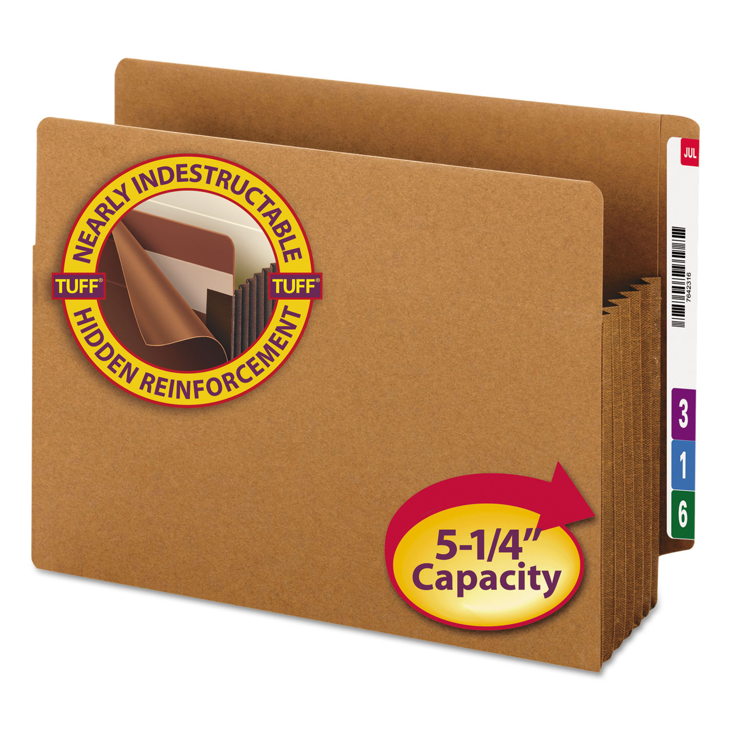 """Heavy-Duty Redrope End Tab TUFF Pockets, 5.25"""" Expansion, Letter Size, Redrope, 10/Box"""