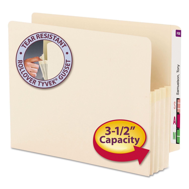 "Manila End Tab File Pockets, 3.5"" Expansion, Letter Size, Manila, 25/Box"