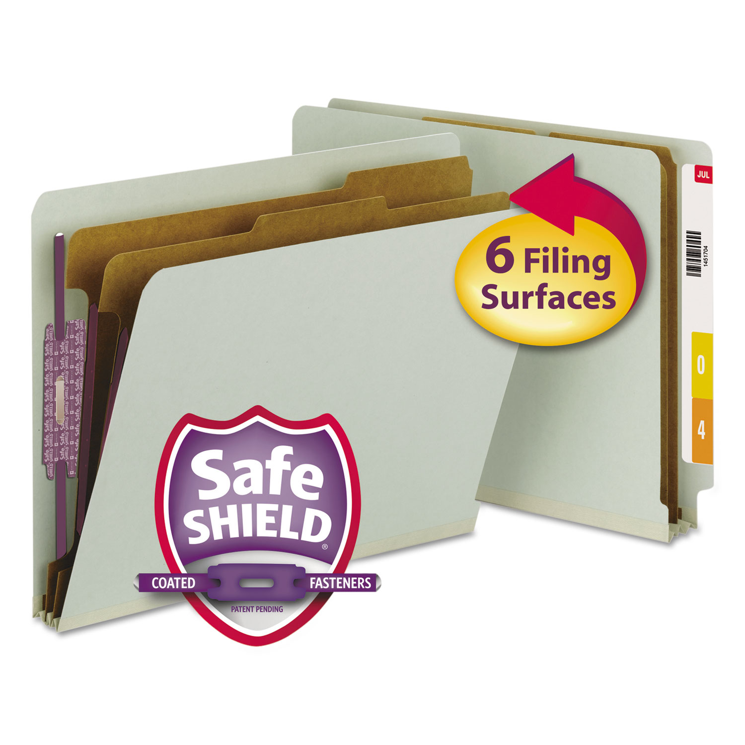 End Tab Pressboard Classification Folders with SafeSHIELD Coated Fasteners, 2 Dividers, Letter Size, Gray-Green, 10/Box