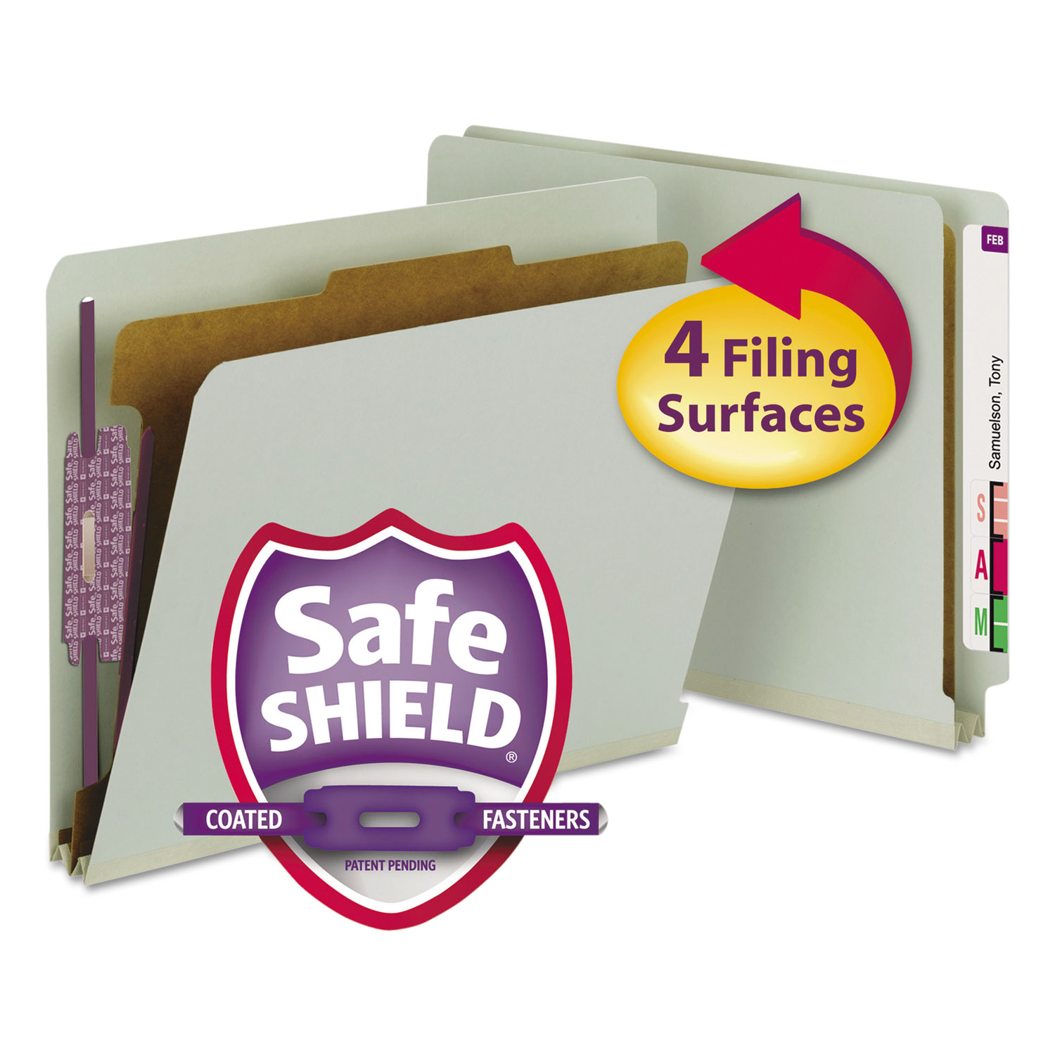 End Tab Pressboard Classification Folders with SafeSHIELD Coated Fasteners, 1 Divider, Letter Size, Gray-Green, 10/Box