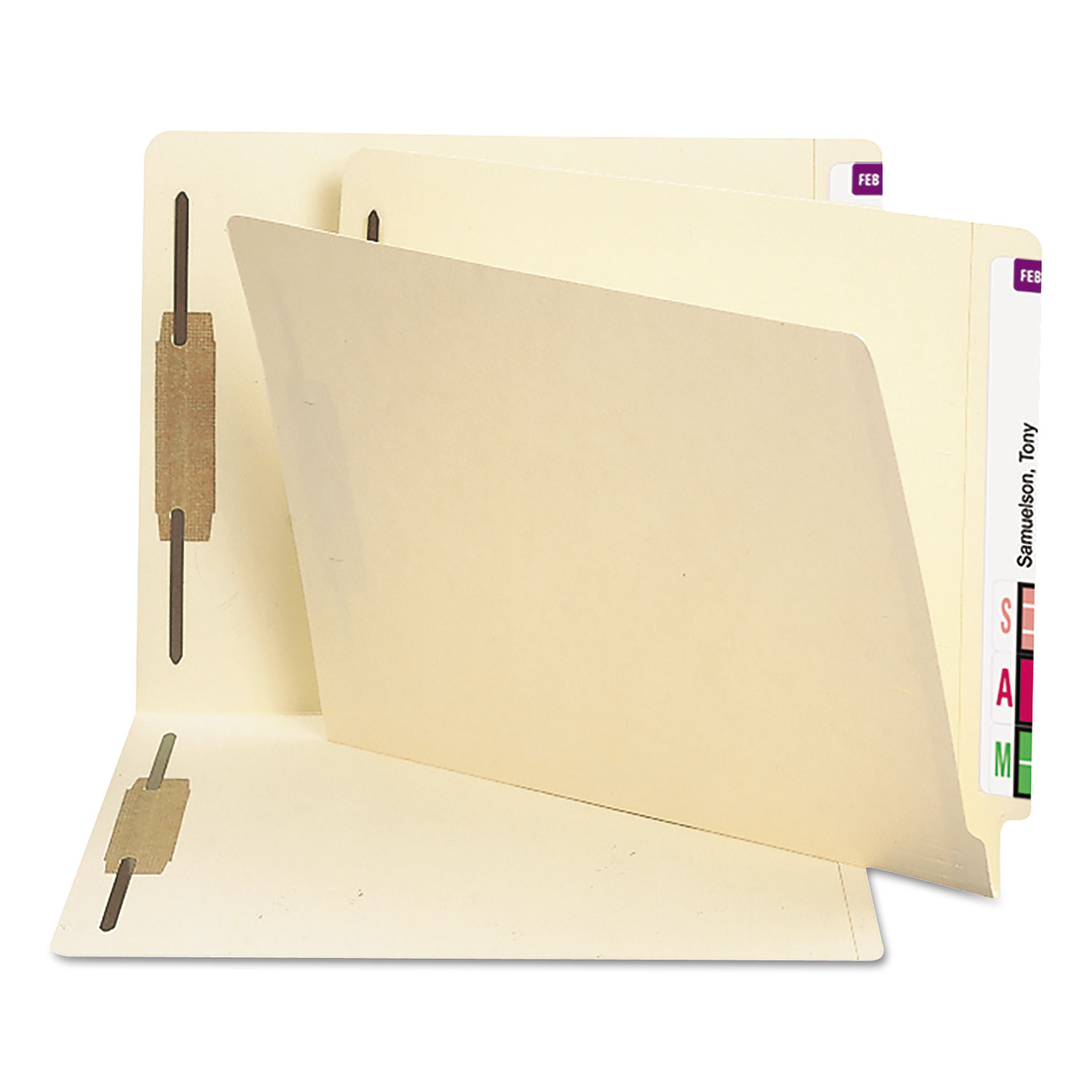 "Manila End Tab 2-Fastener Folders with Reinforced Tabs, 0.75"" Expansion, Straight Tab, Letter Size, 11 pt. Manila, 250/Box"