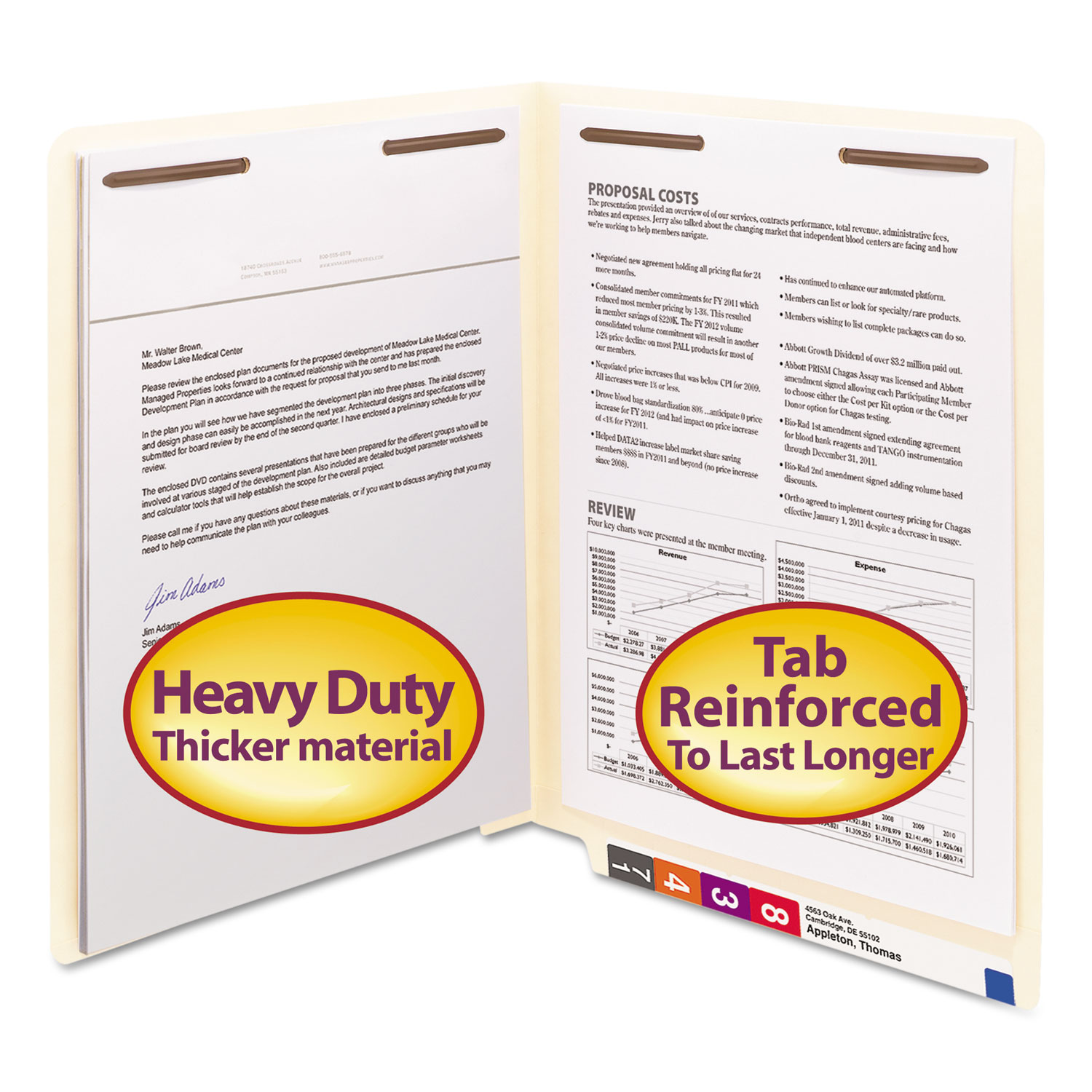 """Manila End Tab 2-Fastener Folders with Reinforced Tabs, 0.75"""" Expansion, Straight Tab, Letter Size, 14 pt. Manila, 50/Box"""