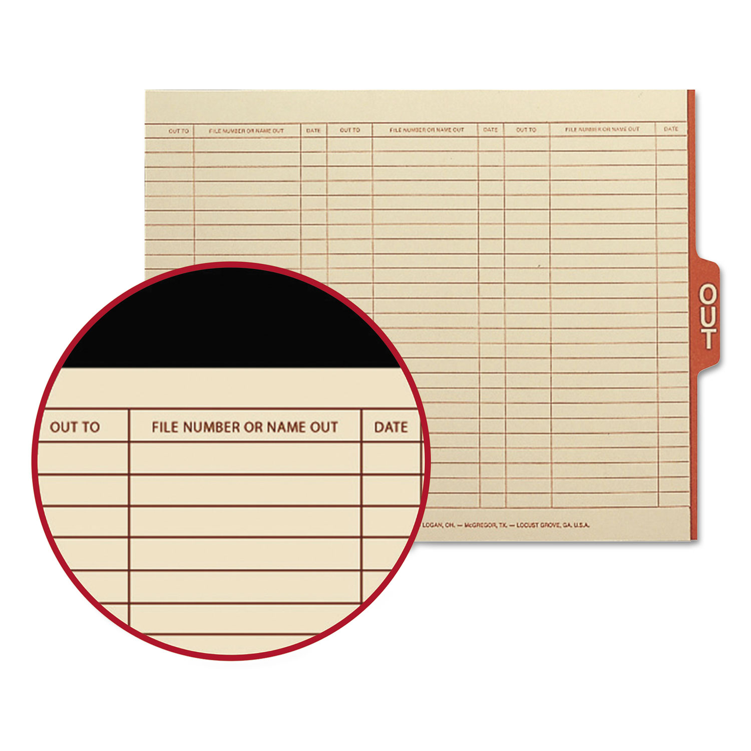 Manila Out Guides with Printed Form, 1/5-Cut End Tab, Out, 8.5 x 11, Manila, 100/Box