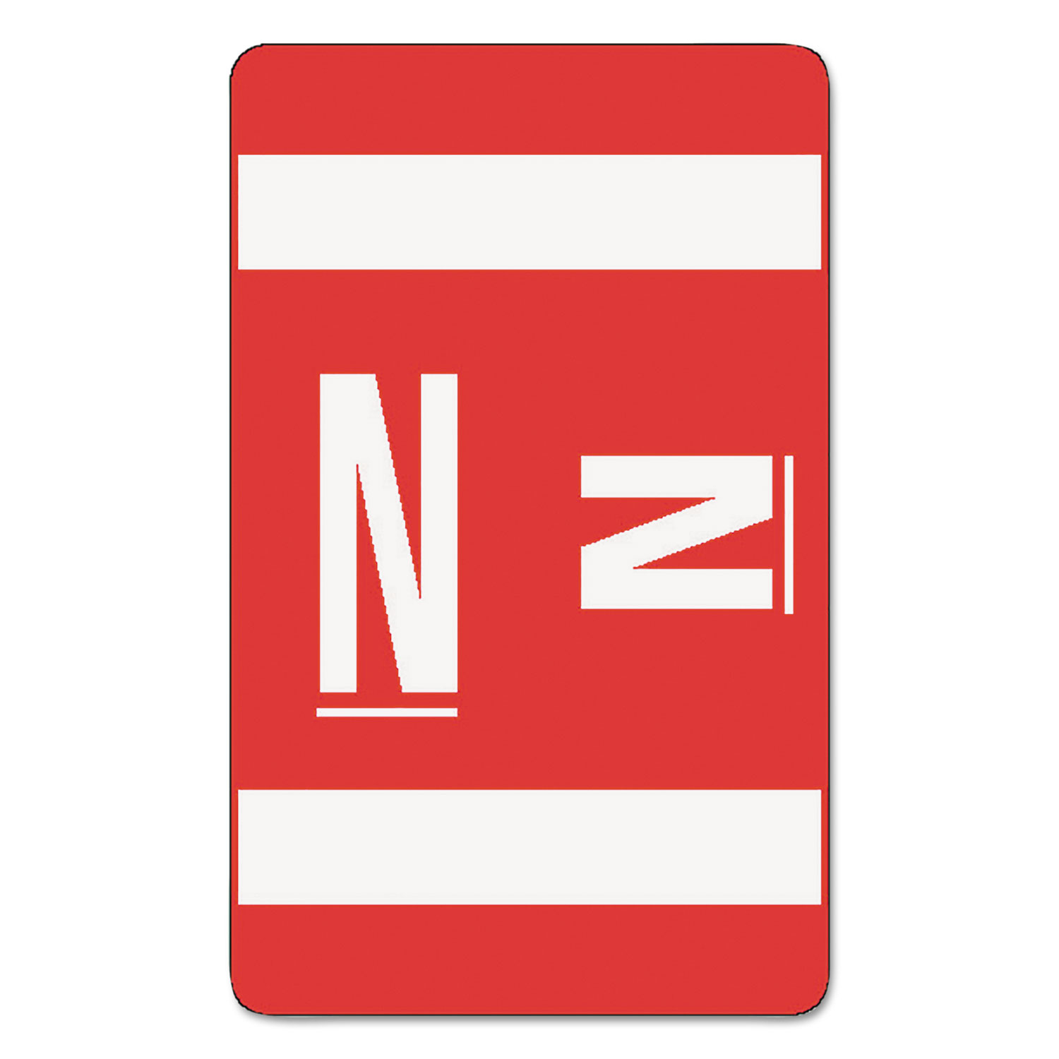 AlphaZ Color-Coded Second Letter Alphabetical Labels, N, 1 x 1.63, Red, 10/Sheet, 10 Sheets/Pack