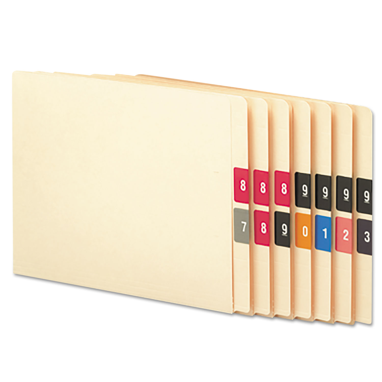 Numerical End Tab File Folder Labels, 0-9, 1.5 x 1.5, Assorted, 250/Roll, 10 Rolls/Box