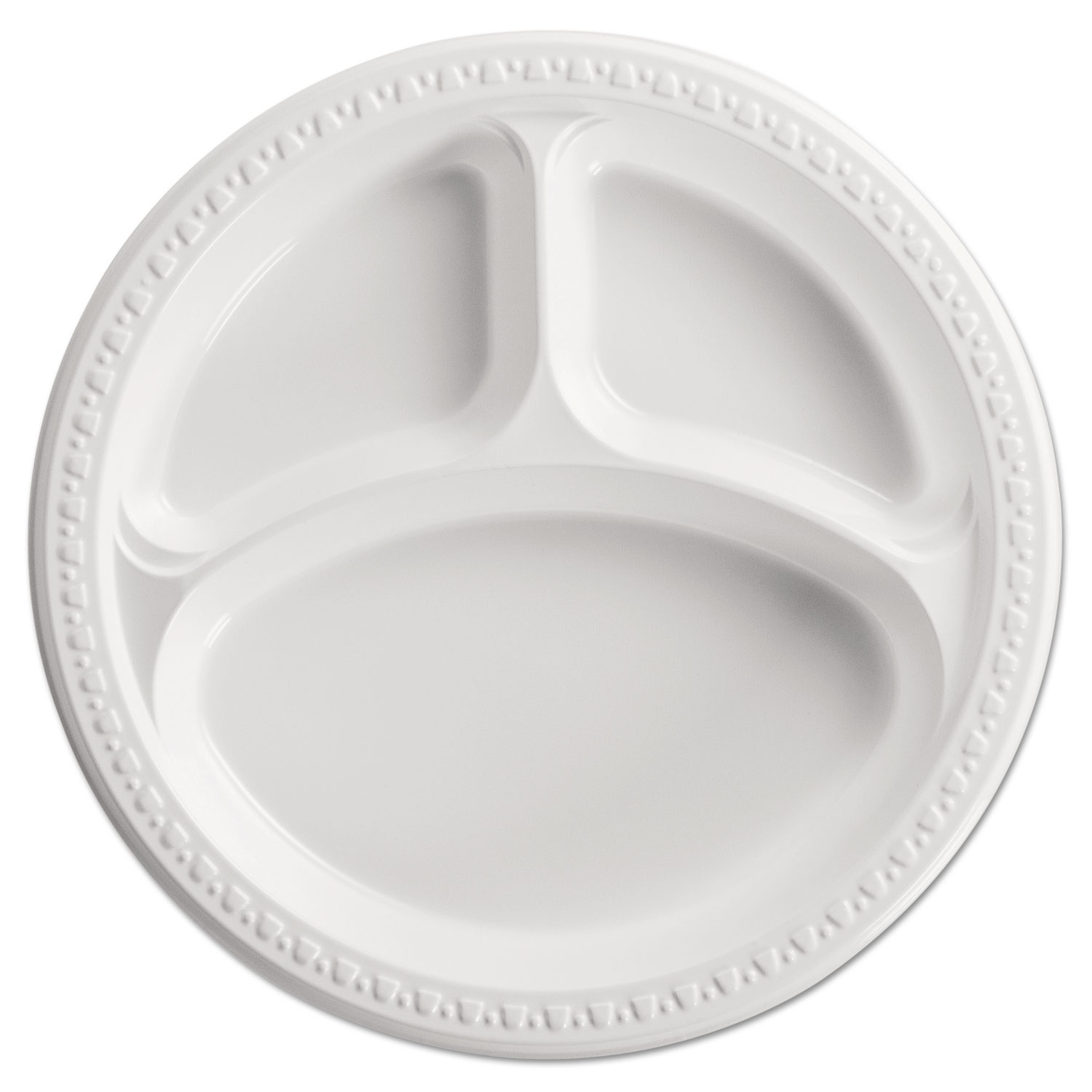 Heavyweight Plastic 3 Compartment Plates, 10 1/4